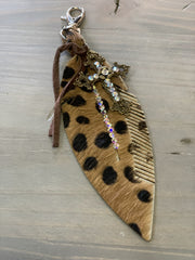 Swarovski Crystals Feather Clip - Leopard (Front)