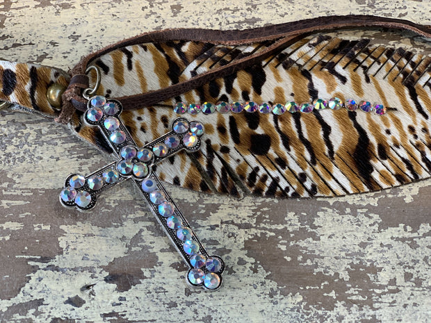 EARB Rhinestone Feather Clip - Animal Print (Closeup)