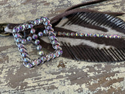 EARB Rhinestone Feather Clip - Brown (Closeup)