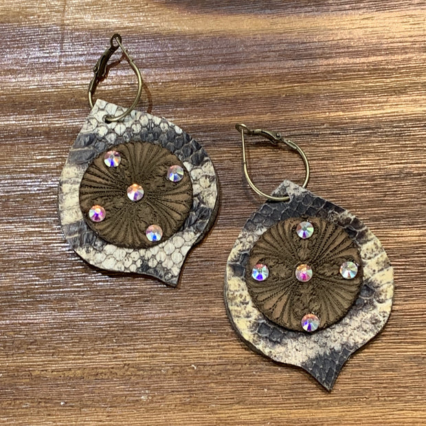 EARB Rhinestone Circle Leaf Snakeskin Earrings