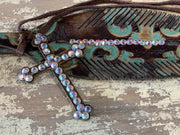 EARB Rhinestone Feather Clip - Turquoise (Closeup)