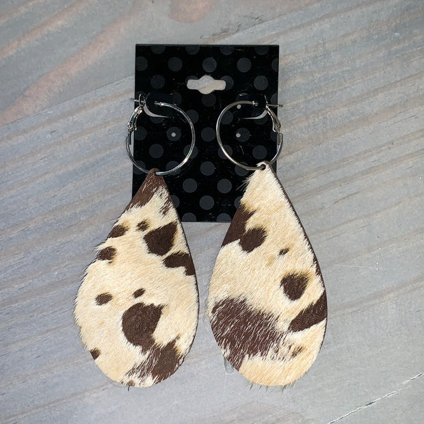 Cowhide Leather Teardrop Earrings (Chocolate/Tan/White #1)