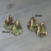 EKIG Double Layer Leaf Leather Earrings - Camo