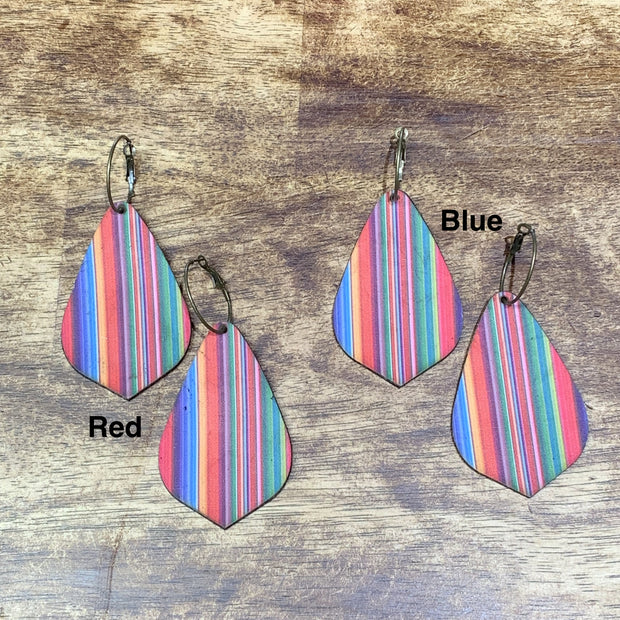 EKIG Double Layer Leaf Leather Earrings - Serape