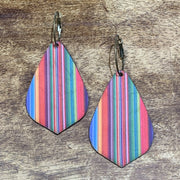EKIG Double Layer Leaf Leather Earrings (Serape Blue)