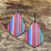 EKIG Double Layer Leaf Leather Earrings (Serape Red)