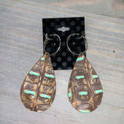 Embossed Leather Teardrop Earrings (Brown/Gold/Turquoise)