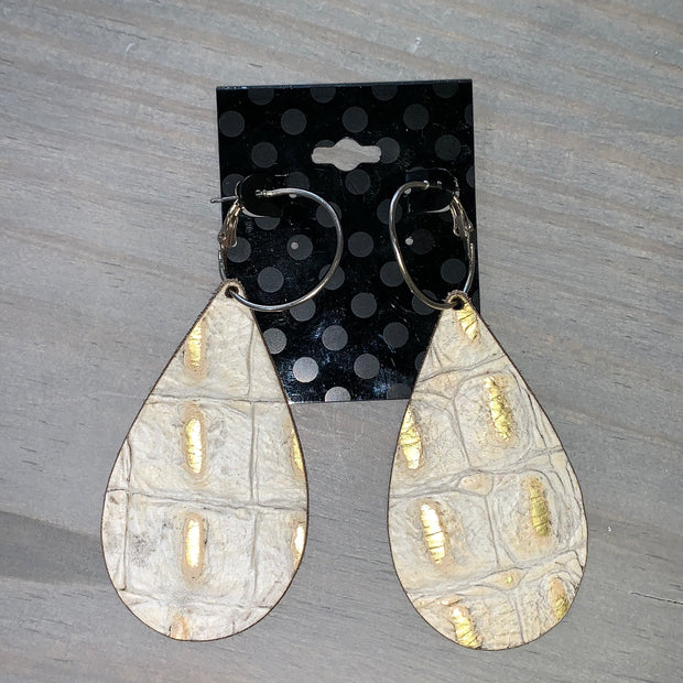 Embossed Leather Teardrop Earrings - Grey/Gold (Line in Square #1)