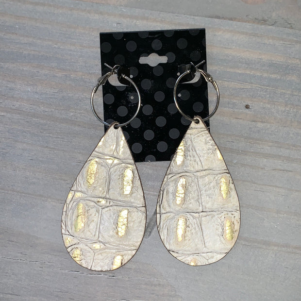 Embossed Leather Teardrop Earrings - Grey/Gold (Line in Square #2)