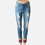 Load image into Gallery viewer, Embellished Multi Stripe Skinny Jeans (Main)