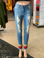 Load image into Gallery viewer, Embellished Multi Stripe Skinny Jeans (Front)
