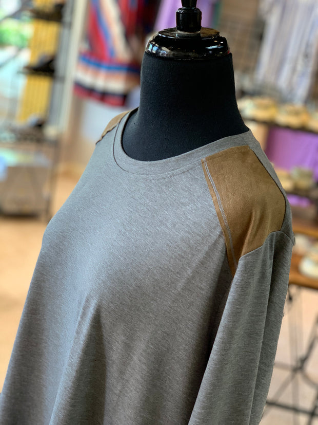 F3 3-4 Suede Yoke Top (Closeup)
