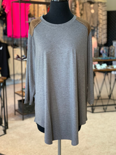 F3 3-4 Suede Yoke Top (Front)