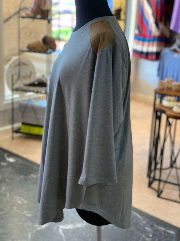 F3 3-4 Suede Yoke Top (Side)