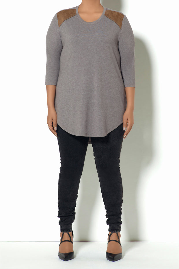F3 3-4 Suede Yoke Top (Model)