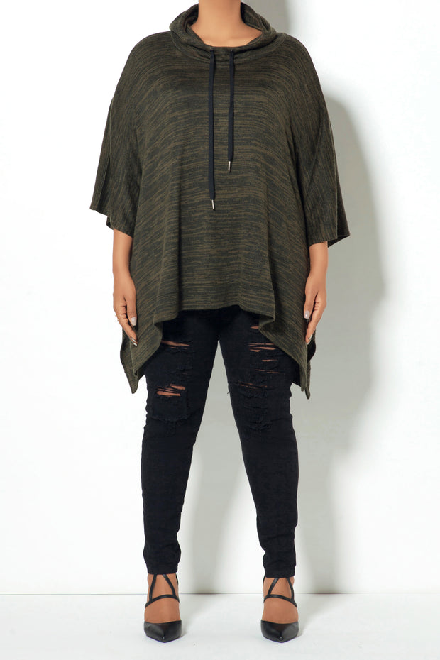 Pattern Drawstring Poncho (Model)