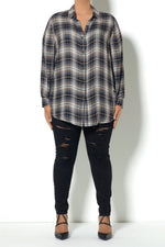Load image into Gallery viewer, Neutral Plaid Buttondown Shirt (Model)