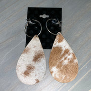 Cowhide Leather Teardrop Earrings (Grey/Tan #2)