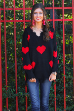 Load image into Gallery viewer, Heart On My Sleeve Distressed Sweater - Front (Taylor)