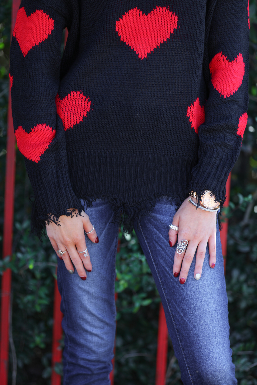 Heart On My Sleeve Distressed Sweater - Closeup HEM (Taylor)