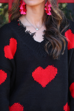 Load image into Gallery viewer, Heart On My Sleeve Distressed Sweater - Closeup NECKLINE (Taylor)
