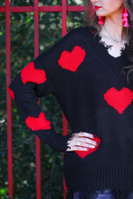 Load image into Gallery viewer, Heart On My Sleeve Distressed Sweater - Closeup SLEEVE (Taylor)