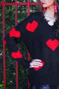 Heart On My Sleeve Distressed Sweater - Closeup SLEEVE (Taylor)