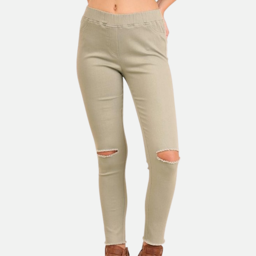 High Waist Knee-Cut Jeggings (Main)