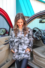 Load image into Gallery viewer, Hunter Grey Camo Faux Fur Pullover (Taylor)