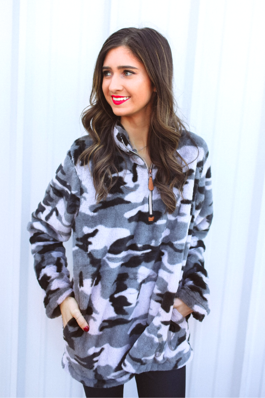 Hunter Grey Camo Faux Fur Pullover (Taylor)