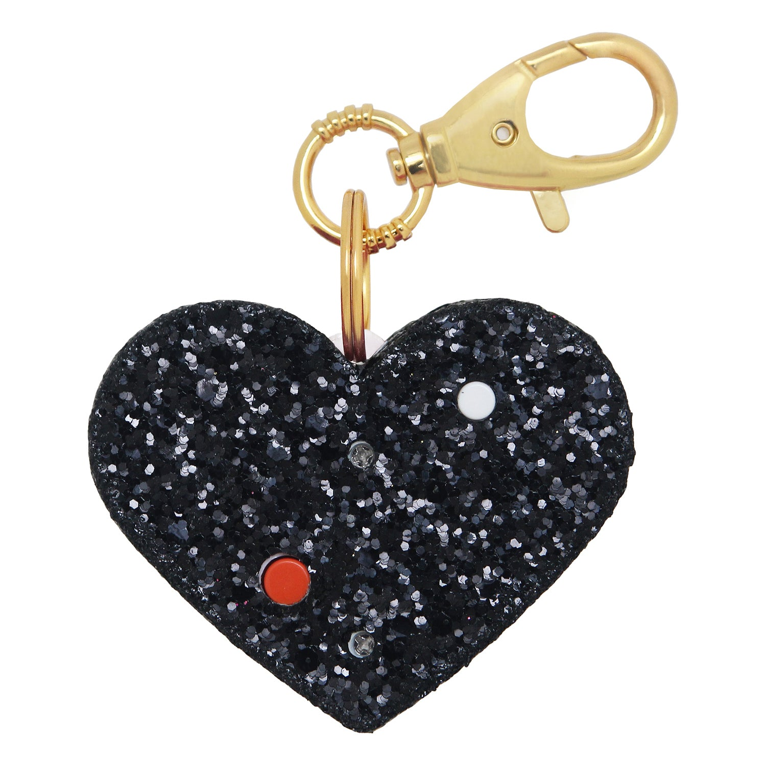 Personal Security Alarm - Glitter Heart (Black BACK)