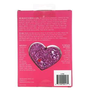 Personal Security Alarm - Glitter Heart (Pink PACKAGING)