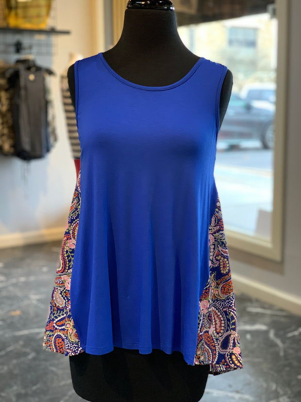 Paisley Print Top - Royal (Front)