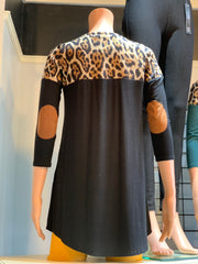 Animal Contrast Elbow Patch Top - Black (Back)