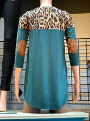 Animal Contrast Elbow Patch Top - Hunter Green (Back)