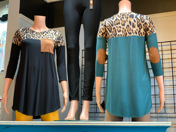 Animal Contrast Elbow Patch Top (Front/Back)