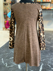 JB Leopard Melange Pocket Tunic - Mocha (Back)