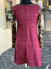 JB Leopard Melange Pocket Tunic - Wine (Back)