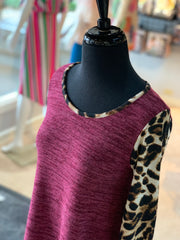 JB Leopard Melange Pocket Tunic - Wine (Closeup)