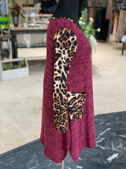 JB Leopard Melange Pocket Tunic - Wine (Side)