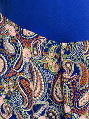 JB SL Paisley Print Top - Royal (Closeup)