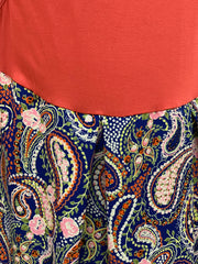 JB SL Paisley Print Top - Rust (Closeup)