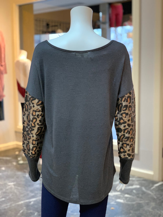 Solid Boat Neck Leopard Top - Charcoal (Back)