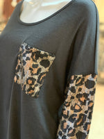 Load image into Gallery viewer, Solid Boat Neck Leopard Top - Charcoal (Closeup)