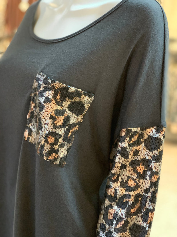 Solid Boat Neck Leopard Top - Charcoal (Closeup)