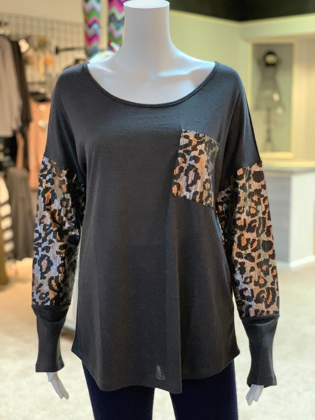 JB Solid Boat Neck Leopard Top - CHARCOAL (Front)