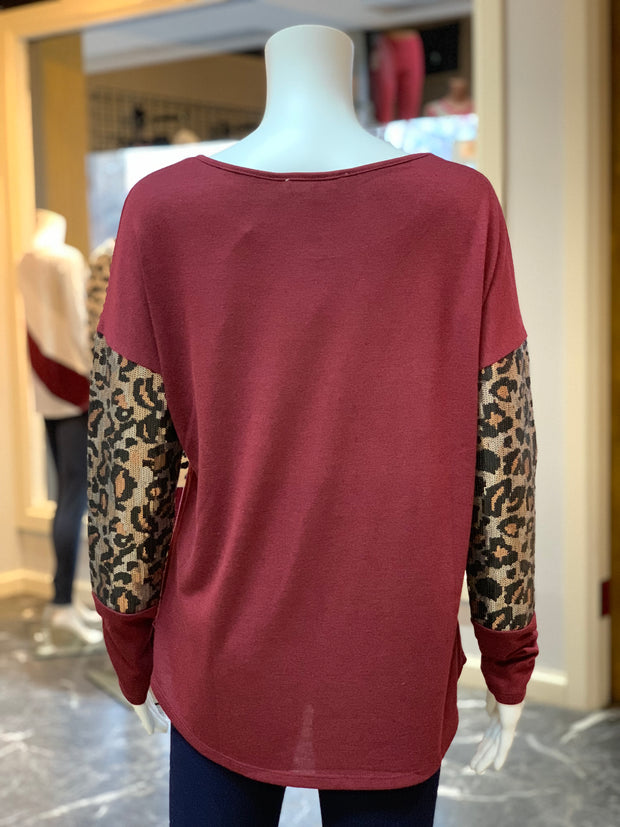 Solid Boat Neck Leopard Top - Wine (Back)