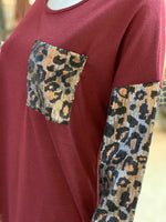 Load image into Gallery viewer, Solid Boat Neck Leopard Top - Wine (Closeup)