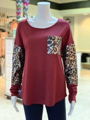 Solid Boat Neck Leopard Top - Wine (Front)