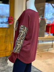 Solid Boat Neck Leopard Top - Wine (Side)
